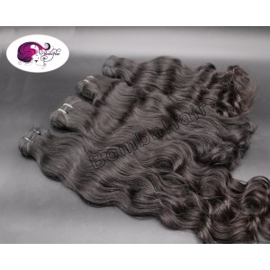Wavy Hairs from India - natural black color:1b - Wefts