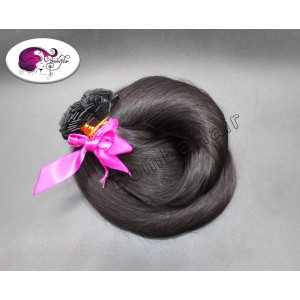 natural black color:1B - straight - Keratin Bonds