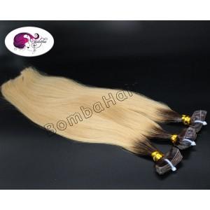 10 Tape-In Extensions - Ombre - naturbraun (1A) und asch blond (12C)